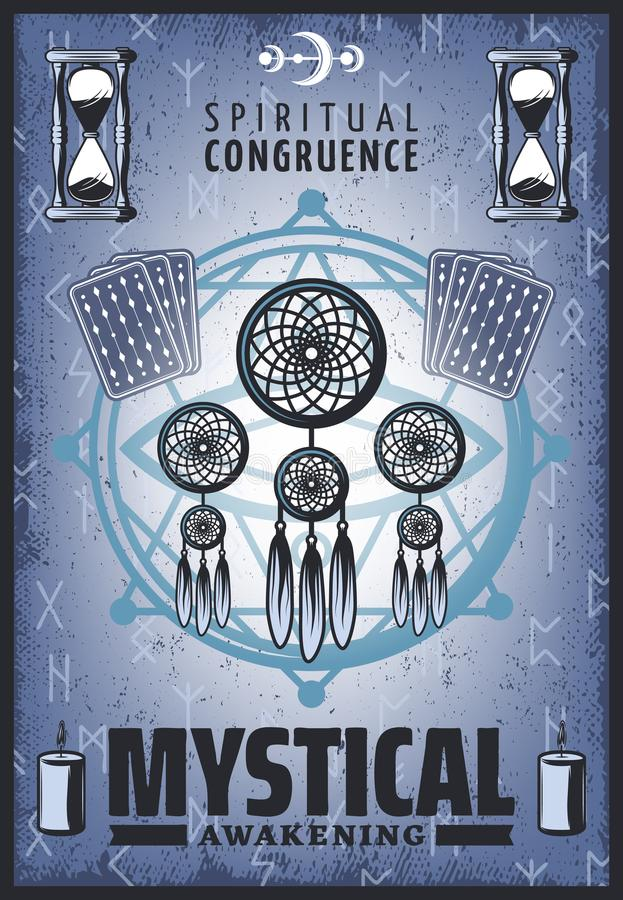 Vintage Colored Mystic Poster vector illustration