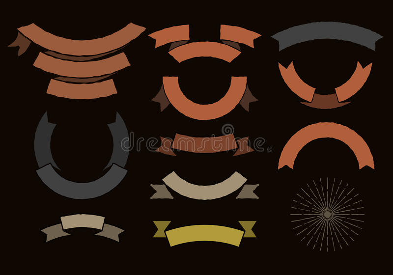 Vintage colored ribbons stock illustration