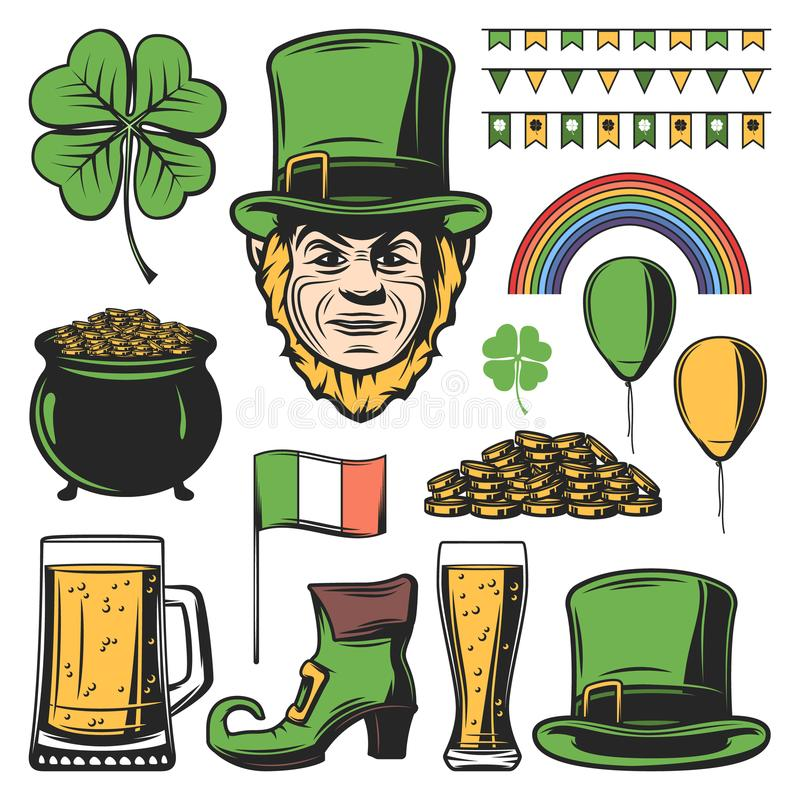 Vintage Colored Saint Patricks Day Set vector illustration