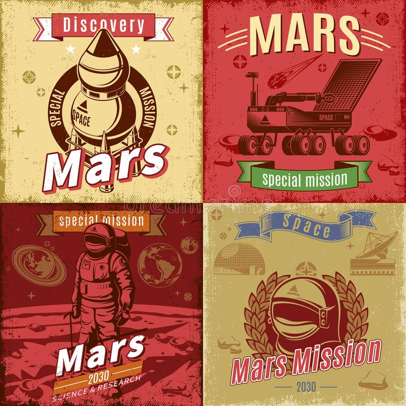 Vintage Colored Space Research Cards Set vector illustration