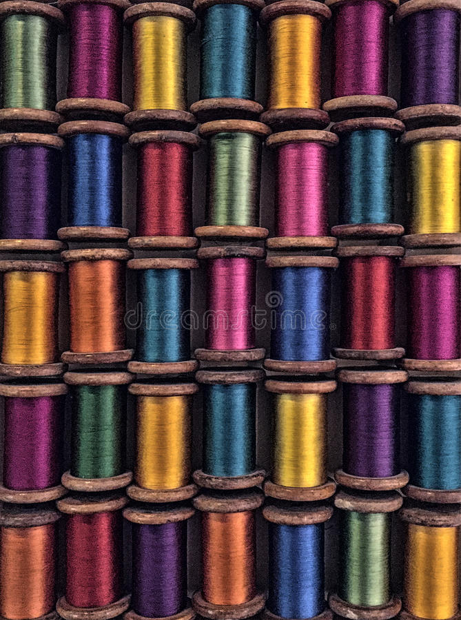 Vintage colored spools stock images