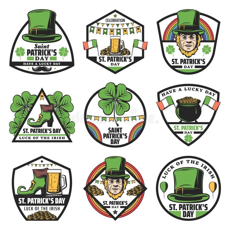Vintage Colored St Patrick Labels Set stock illustration