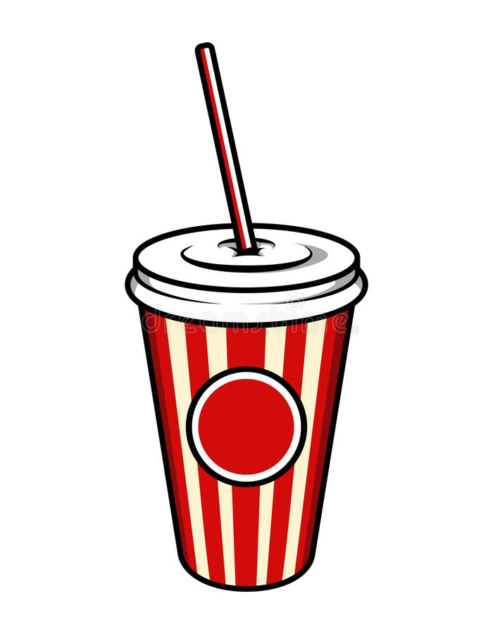 Vintage colorful cinema soda cup template vector illustration
