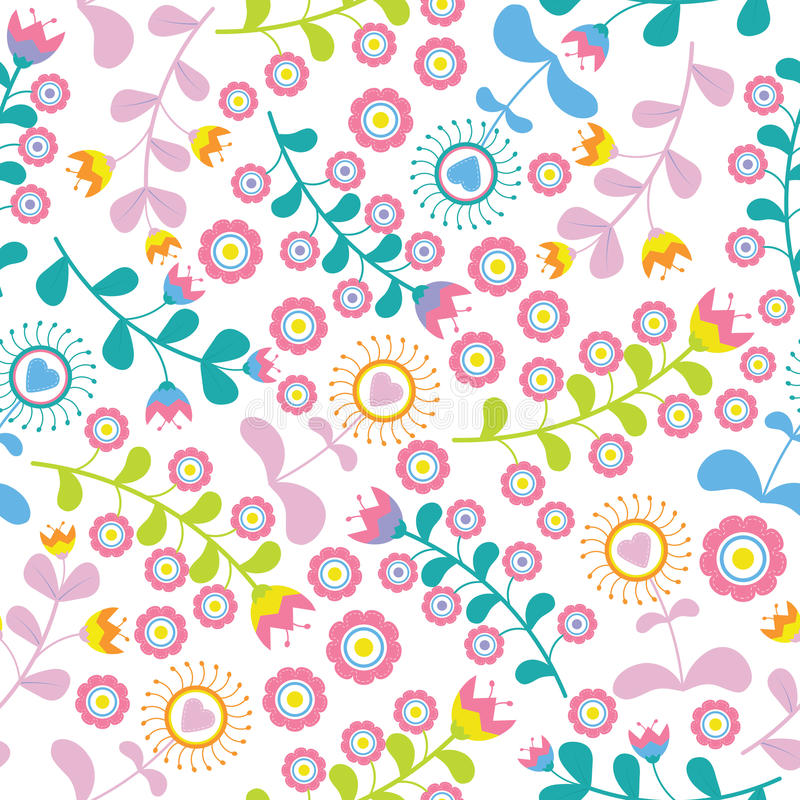 Vintage colorful love flowers seamless pattern on white background vector design for fabric clothes background stock image