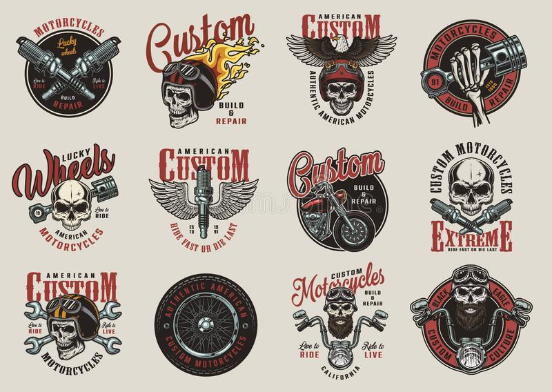 Vintage colorful motorcycle emblems stock illustration