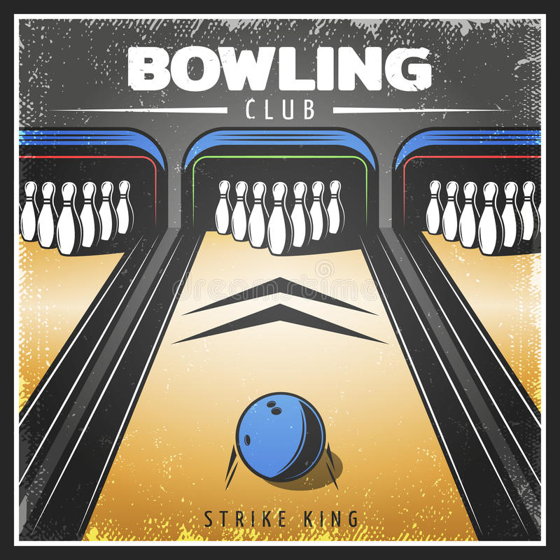 Vintage Colorful Sport Recreation Poster. With ball and pins on bowling alley vector illustration royalty free illustration