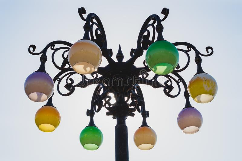 Vintage street lamp against the sky. Retro lantern royalty free stock images