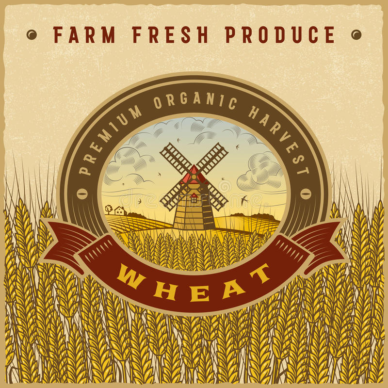 Vintage colorful wheat harvest label. With landscape in woodcut style. Editable vector illustration with clipping mask royalty free illustration