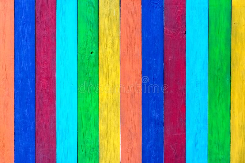 Vintage colorful wood background, colorful wooden wall.  stock photo