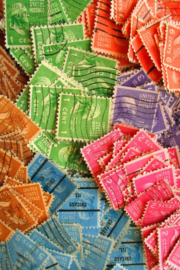 Download Vintage Colorido Selos Carimbados Imagem de Stock - Imagem de selos, azul: 526561