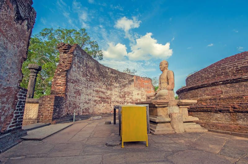 Vintage Colour Effect Of Polonnaruwa Ancient Vatadage. Polonnaruwa Ancient Vatadage That Is An Ancient Structure Built For Hold The Tooth Relic Of The Buddha royalty free stock image
