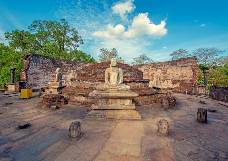 Vintage Colour Effect Of Polonnaruwa Ancient Vatadage. Polonnaruwa Ancient Vatadage That Is An Ancient Structure Built For Hold The Tooth Relic Of The Buddha stock photography