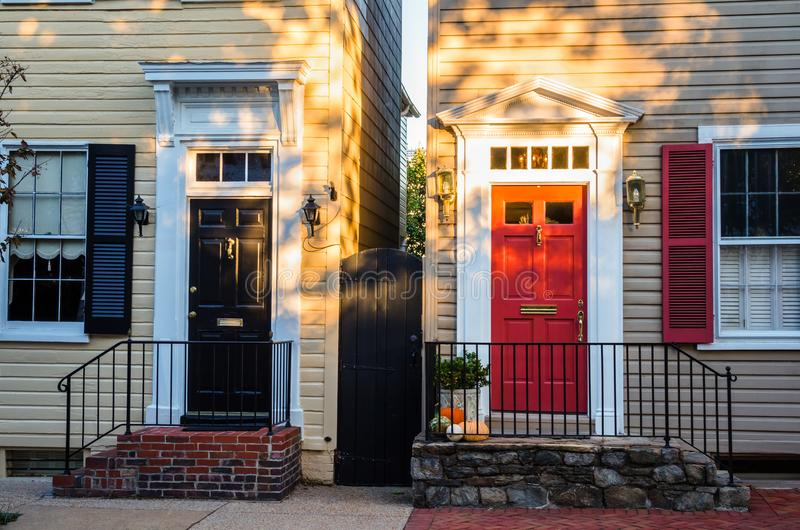 Traditional Colourful Front Doors at Sunset stock photos