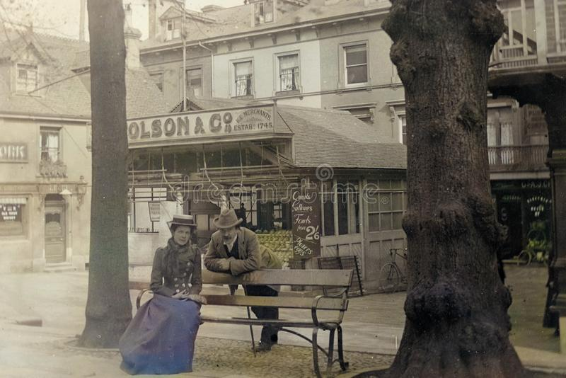 Vintage 1901 Photo - Victorian Gent and Lady, Tunbridge Wells, Kent, UK. Vintage colourised 1901 Photo - Mr Millard a Victorian gentleman and Mrs Bates a stock photo