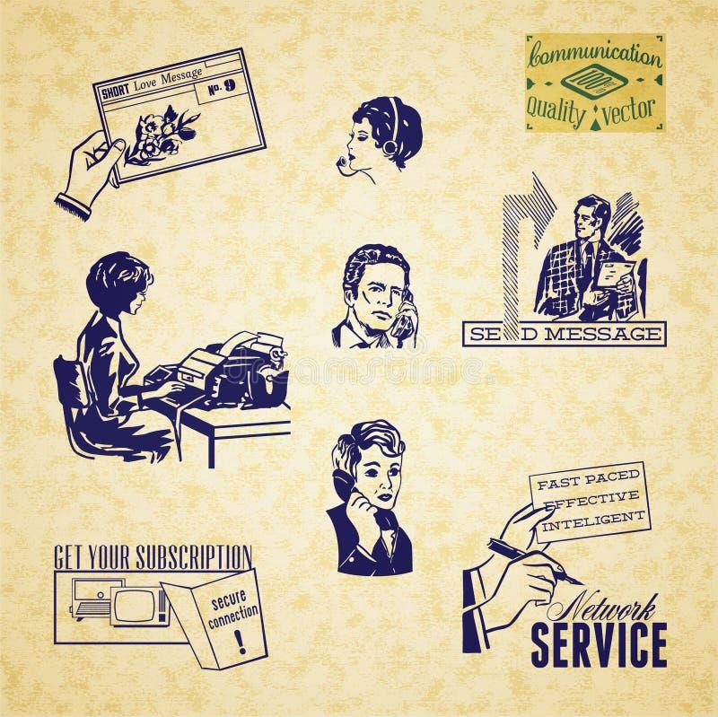 Download Vintage Communication Illustration Set Stock Vector - Illustration of network, inquiry: 32011414