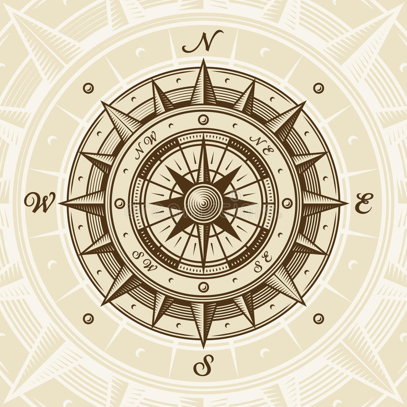 Vintage compass. In woodcut style. Vector illustration with clipping mask