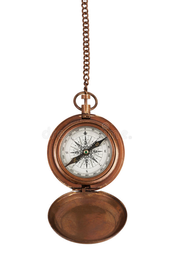 Vintage compass on a chain royalty free stock photo