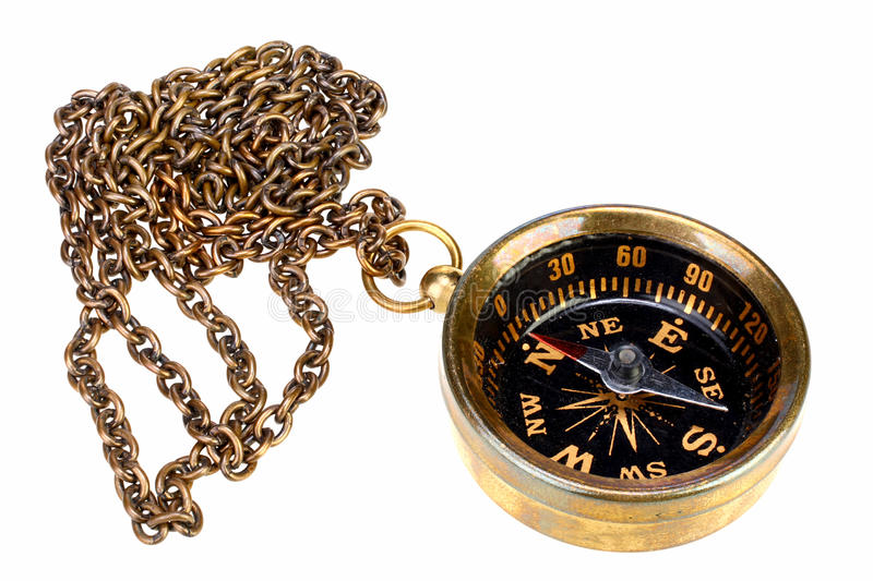 Download Vintage Compass With Chain Stock Image Of Path