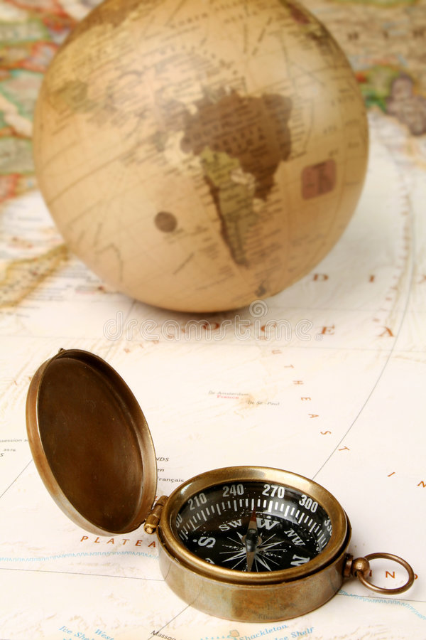 Download Vintage Compass And Globe Over Map Stock Photo - Image: 7064500
