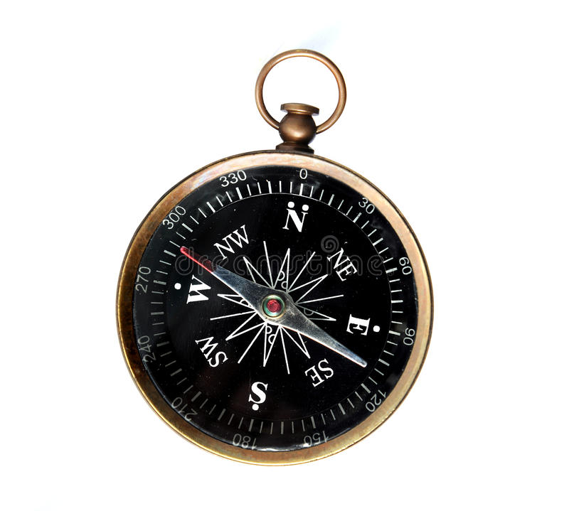 Vintage Compass Isolated Over White Royalty Free Stock Photos