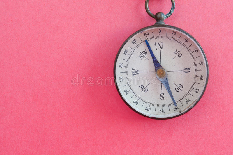 Vintage compass retro style travel instrument used for navigation orientation geographic cardinal directions north stock images