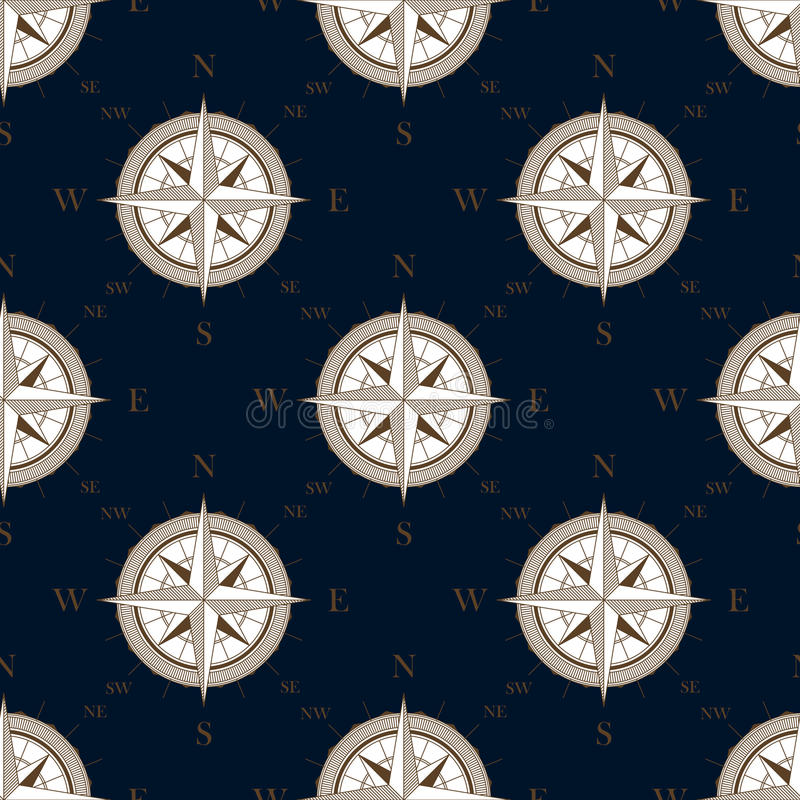 Vintage compass seamless pattern background royalty free illustration