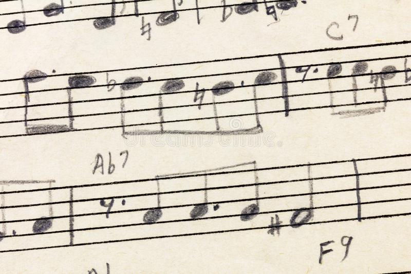 Vintage compuesto escrito mano del lápiz de la hoja de música stock de ilustración