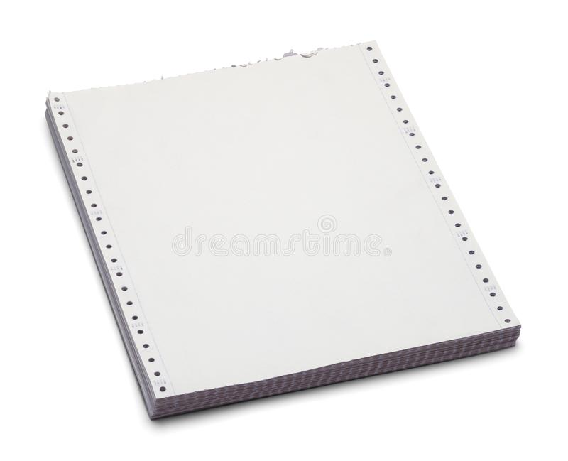Computer Paper. Vintage Computer Paper Stack Isolated on a White Background stock images