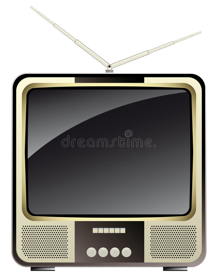 Vintage consumer electronics -tv set stock illustration