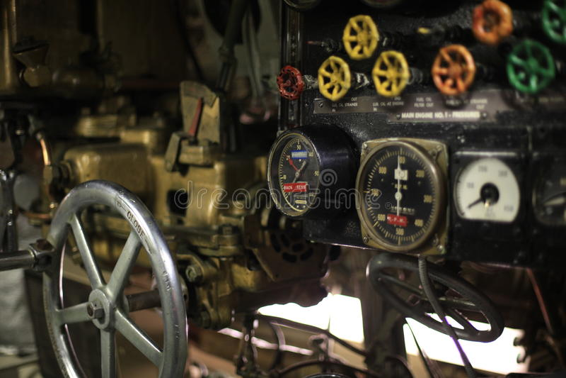 Vintage control room. Vintage World War II submarine control room stock photo