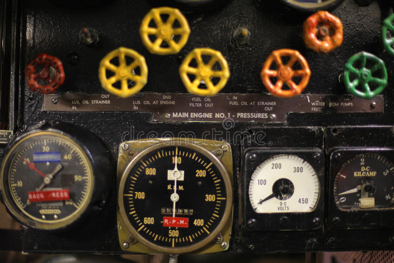 Vintage control room. Vintage World War II submarine control room royalty free stock photos