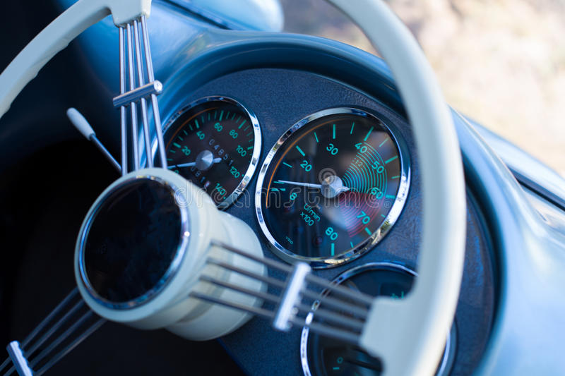 Vintage convertible steering wheel royalty free stock photo
