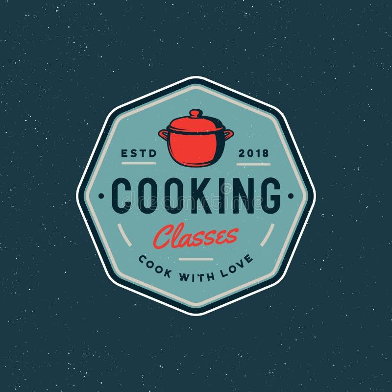 Vintage cooking classes logo. retro styled culinary school emblem. vector illustration stock illustration