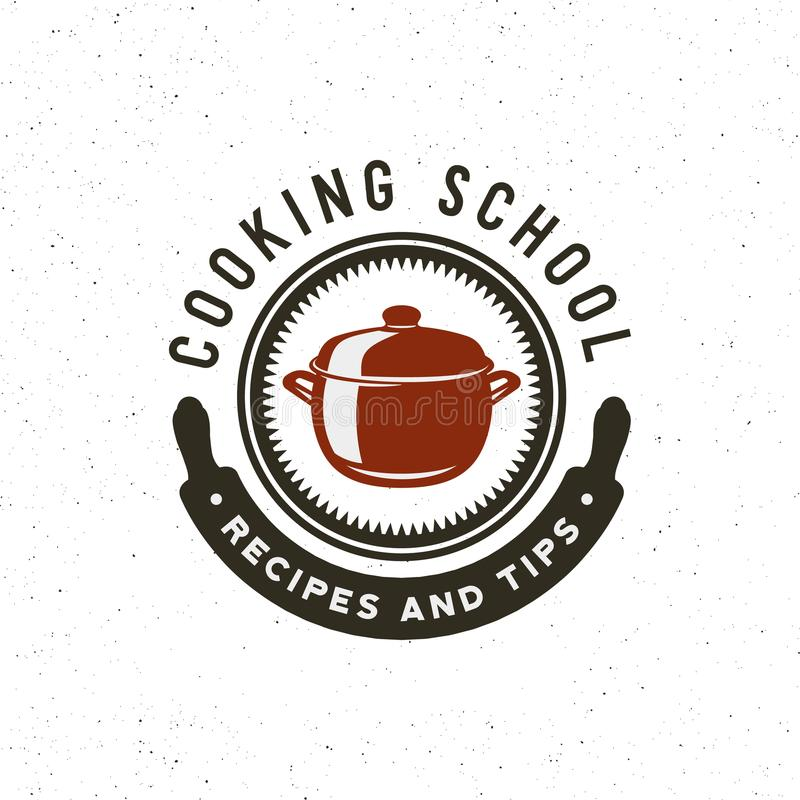 Vintage cooking classes logo. retro styled culinary school emblem. vector illustration vector illustration