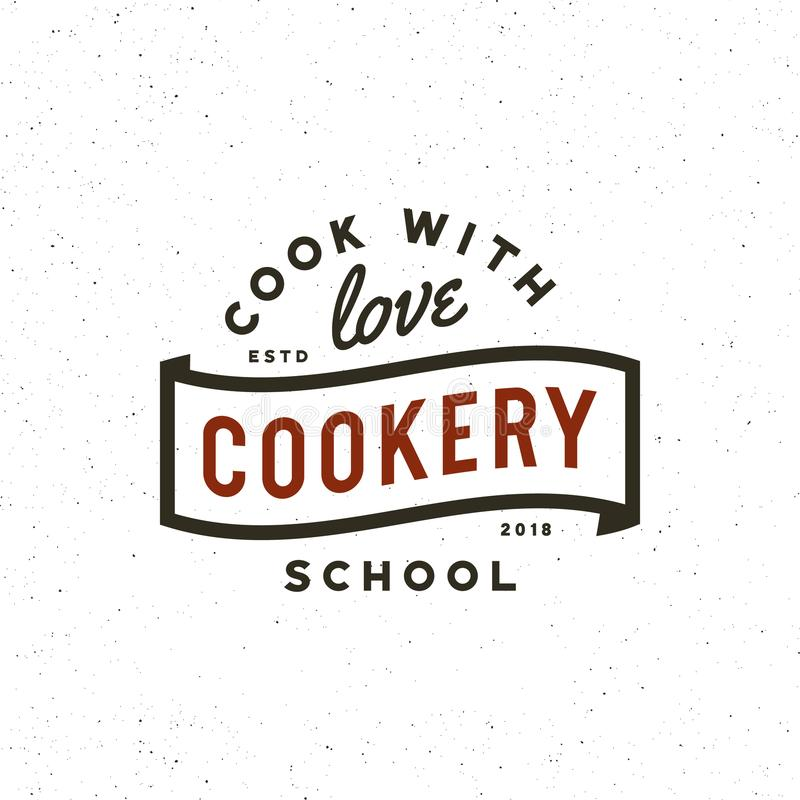 Vintage cooking classes logo. retro styled culinary school emblem. vector illustration. Vintage cooking classes logo. retro styled culinary school emblem, badge stock illustration