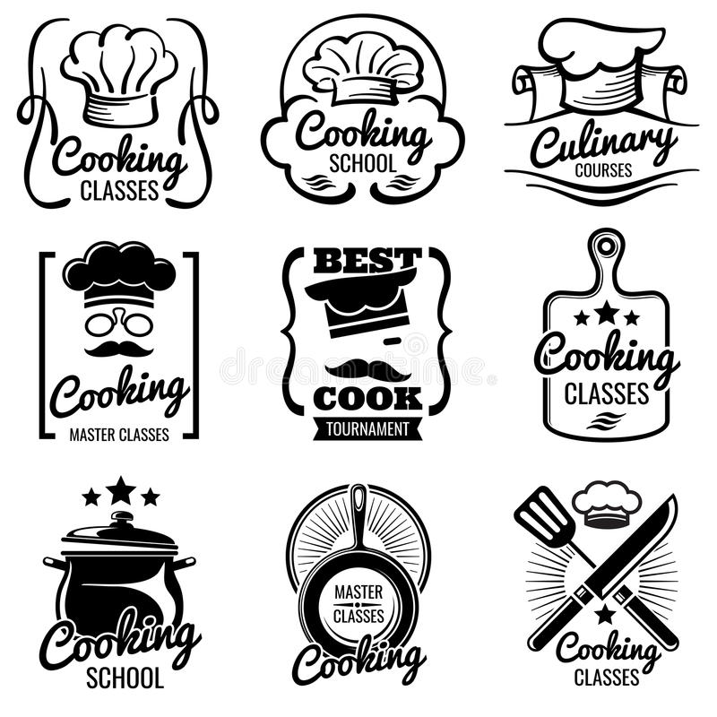 Vintage cooking in kitchen classes vector silhouette labels. Cook workshop emblems. Gourmet logos vector illustration