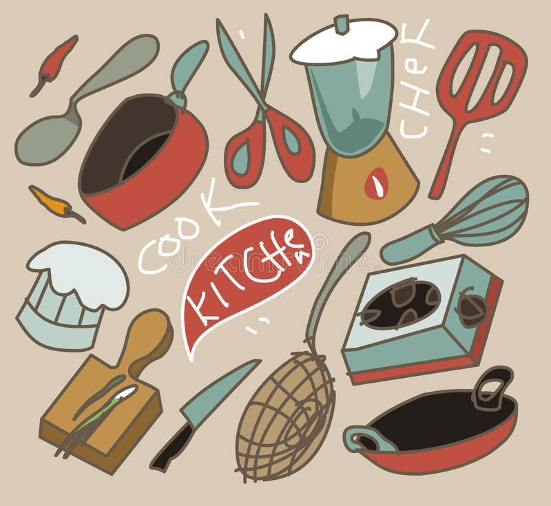 Download Vintage cooking set stock vector. Image of knife, cooking - 38341861