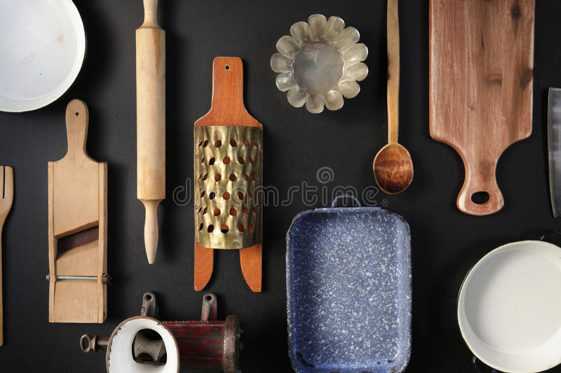 Vintage Cookware on the black background.Top view stock photos