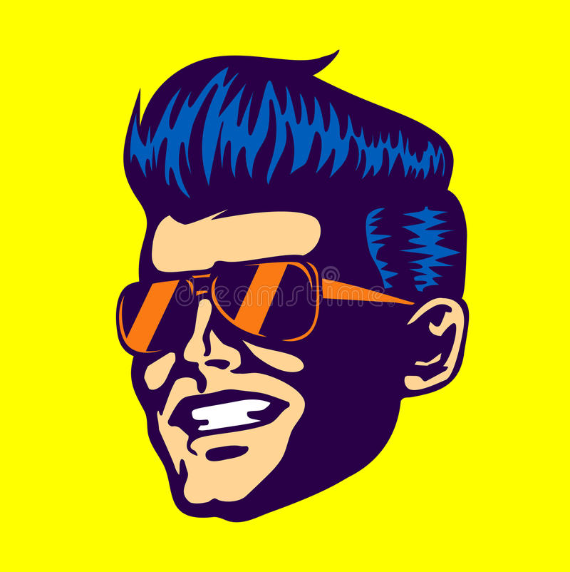 Vintage cool dude man face, aviator sunglasses, rockabilly pompadour haircut. Vintage retro cool dude man face head wearing aviator sunglasses rockabilly royalty free illustration