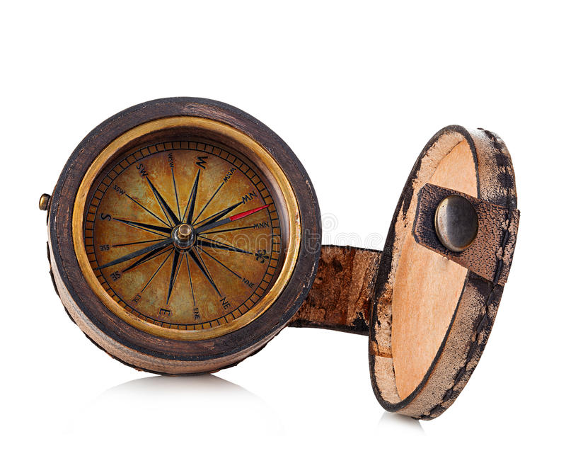 Vintage copper compass in a leather case isolated on a white background. stock images