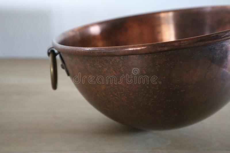 Vintage Copper Mixing Bowl stock image