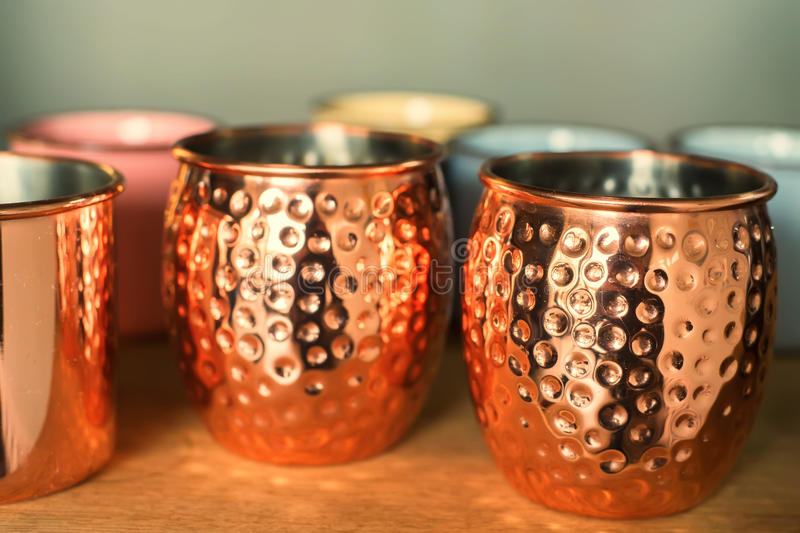 Vintage copper mugs royalty free stock photo