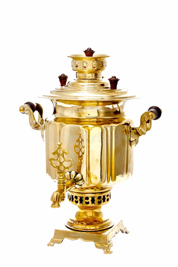 Vintage copper Russian samovar isolated on white background royalty free stock photo