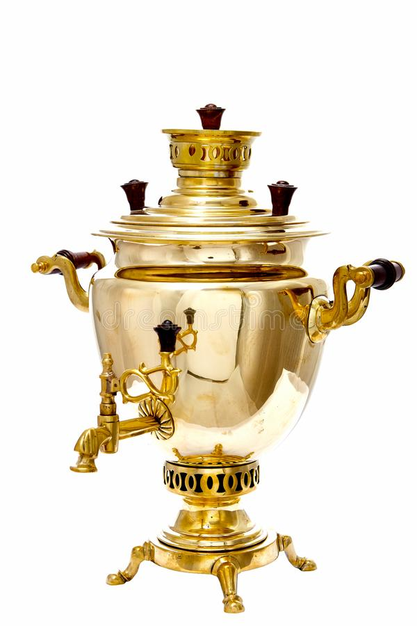 Vintage copper Russian samovar isolated on white background stock photos