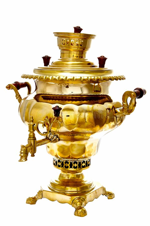 Vintage copper Russian samovar isolated on white background stock photo