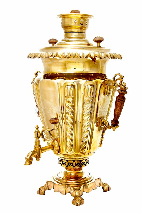 Vintage copper Russian samovar isolated on white background royalty free stock photos