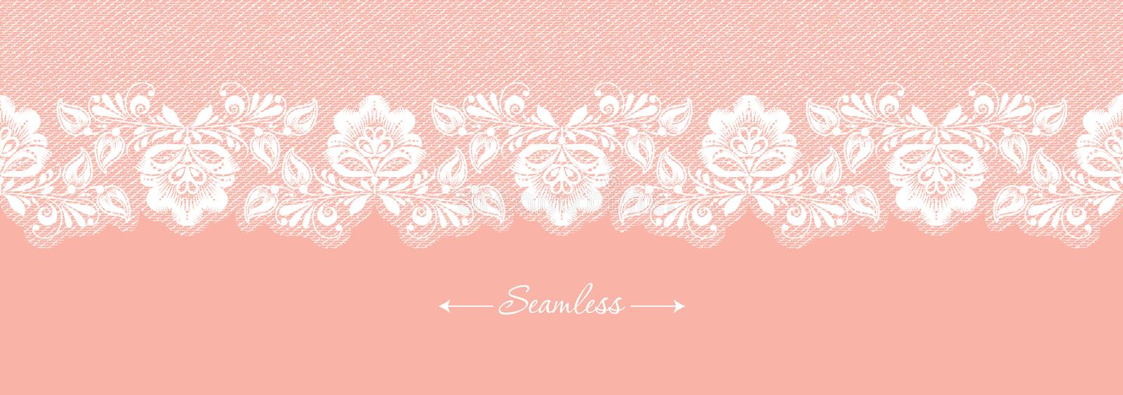 Vintage coral floral seamless lace trim banner, great design for any purposes. Decorative ornate header with flower. vector illustration