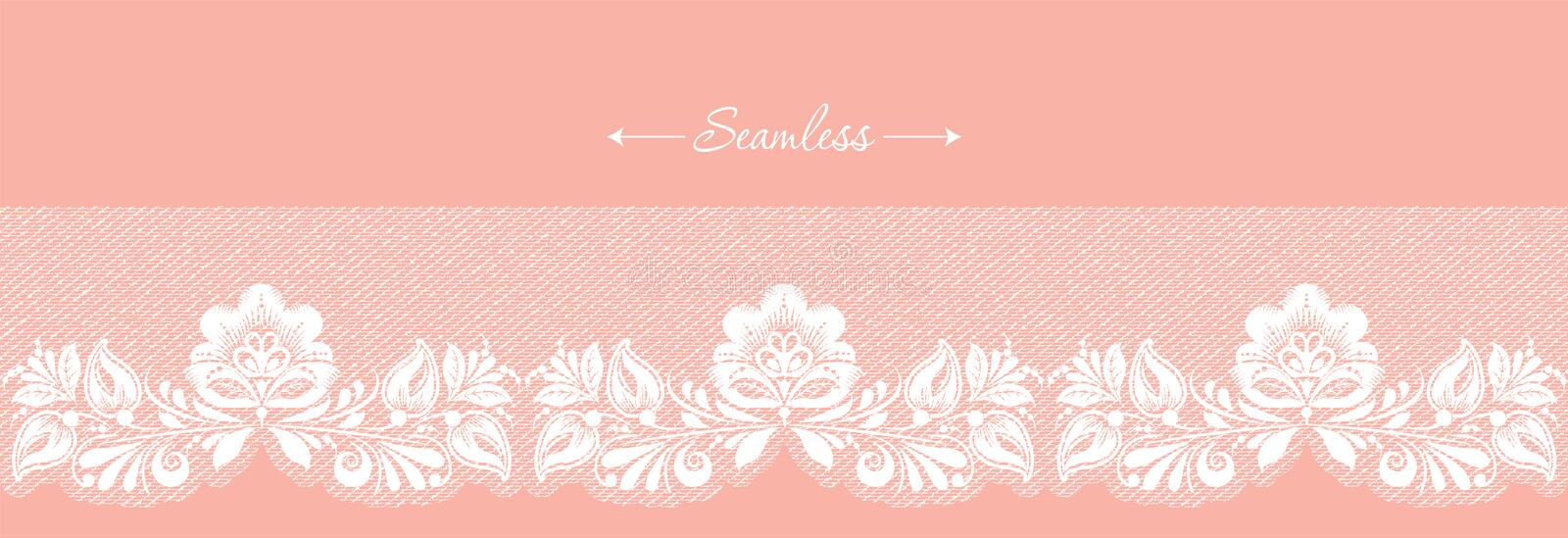 Vintage coral floral seamless lace trim header, great design for any purposes. Decorative ornate banner with flower. royalty free stock photo