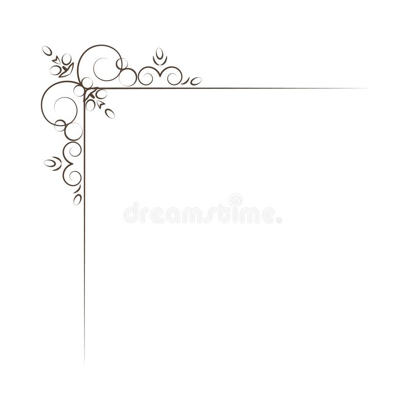 Vintage Corner elements. Swirls, filigree elements and ornate frames. Vector illustration. Design elements royalty free illustration
