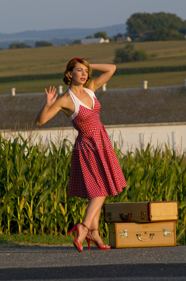 Download Vintage country girl stock image. Image of standing, polka - 16375111